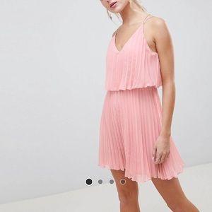 ASOS Design Pleated Crop Top Mini Dress Dusty Pink